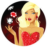 Gambler girl portrait Stock Photo