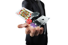 Gambler makes his bet. Rich Gambler makes his bet with chips Stock Images