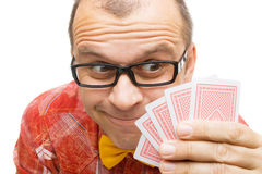 Gambler with playing cards Royalty Free Stock Photography
