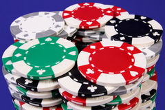 Gambler's chips. There are chips of gambling in the photo. These are in circular formation Stock Photo