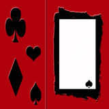 Gambler's Frame. Red background with black and white frame with card suits Royalty Free Stock Images