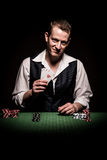 Gambler shows four aces Royalty Free Stock Photo