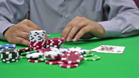 Gambler Takes Casino Jackpot stock video footage