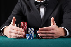 Gambler wins all the money Royalty Free Stock Image