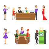Gamblers In Chic Casino In Vegas Playing Poker, Roulette And Slot Machine Smiling Players, Waiters And Dealers. Illustrations. Set Of Cartoon Vector Characters Royalty Free Stock Image