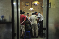 Gamblers in room off Hutongs in Beijing, China Royalty Free Stock Photo