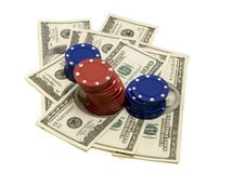 Gambling 1. Poker chips and 100 dollar bills, isolated on white background w/ clipping path Royalty Free Stock Photography