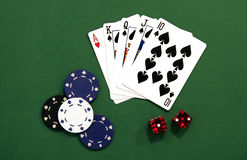 Gambling. Cards, Chips, Dice Royalty Free Stock Photos