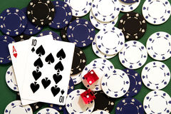 Gambling. Black Jack, Chips, Dice Royalty Free Stock Photo