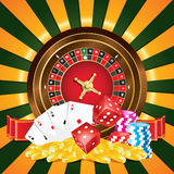 Gambling. Vector illustration of roulette,coins,chips,dices and playing card.Vector file available as well Stock Image