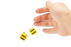 Gambling. Mans hand and dice isolated Royalty Free Stock Image