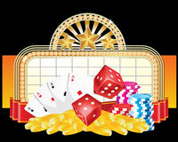 Gambling. Illustration of casino entrance with gambling objects Royalty Free Stock Photography