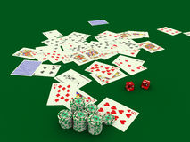 Gambling_2. Poker cards more chips on a green table Royalty Free Stock Images