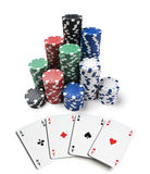 Gambling. Chips and spades isolated on white royalty free stock images