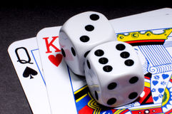 Gambling. Hazard game with dices and playcards Royalty Free Stock Image