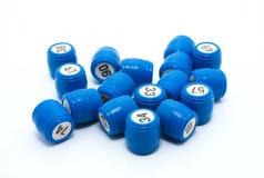 Gambling. Blue barrels Lotto, gambling, white background Stock Photo