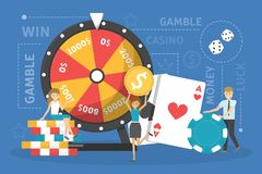 Gambling addiction concept. Idea of play risk game vector illustration