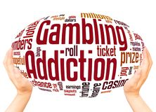 Gambling Addiction word cloud hand sphere concept. On white background stock photography