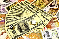 Gambling on the american dollar and world money Stock Photography