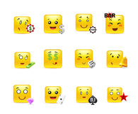 Gambling anime smilies. Set of funny and very beautiful square anime smiles on gambling Stock Photography