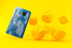 Gambling background with credit card. In orange color. 3d illustration Royalty Free Stock Images