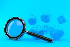 Gambling background with magnifying glass. In blue color. 3d illustration Royalty Free Stock Images