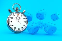 Gambling background with stopwatch. In blue color. 3d illustration stock illustration