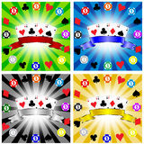 Gambling banner. Illustration of gambling banners. Cards and chips Royalty Free Stock Images