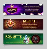 Gambling banners with Roulette Wheel and Casino Chips, lottery machine, gold fortune wheel set. Casino jackpot banner vector illustration