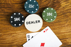 Gambling blackjack concept with betting chips and two cards Stock Images