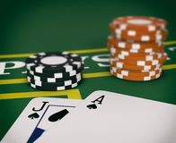 Gambling, blackjack game. Close up view of a blackjack table with cards and fiches (3d render Stock Images