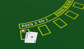 Gambling, blackjack game. Top view of a blackjack table with cards and fiches (3d render Stock Photo