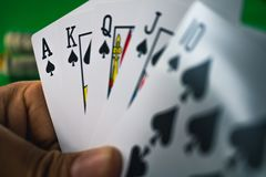 Gambling card game in casino. stock images