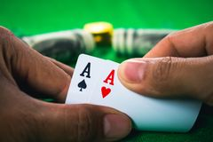 Gambling card game in casino. royalty free stock photo