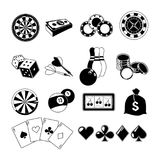 Gambling, card games, and different casino entertainments. Monochrome illustrations set. Vector silhouettes royalty free illustration