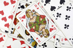 Gambling cards. Cards, heart lady at the top Royalty Free Stock Images