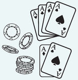 Gambling. Cards and chips Royalty Free Stock Photos