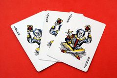 Gambling cards. Game. Joker playing cards Stock Photos
