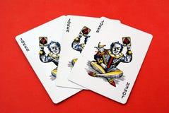 Gambling cards. Game. Joker playing cards. Joker playing cards, game, or gambling cards Stock Photos
