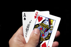 Gambling Cards In Hand Royalty Free Stock Photos