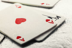 Gambling Cards Made of Fondant. Decoration of a cake, gambling cards made of fondant stock photography