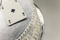 Gambling Cards Made of Fondant. Decoration of a cake, gambling cards made of fondant stock image