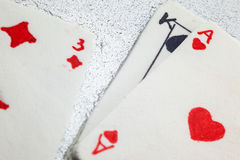 Gambling Cards Made of Fondant. Decoration of a cake, gambling cards made of fondant stock photo
