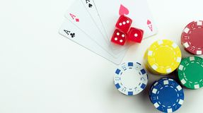 Gambling Cards Red Dices and Money Chips. Photo stock image