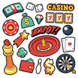 Gambling Casino Badges, Patches, Stickers - Jackpot Roulette Money Cards in Comic Style. Vector Doodle vector illustration