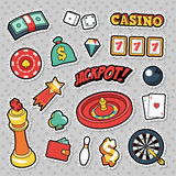 Gambling Casino Badges, Patches and Stickers - Jackpot Roulette Money Cards Stock Photos