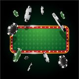 Gambling casino banner with flying chips Vector Illustration