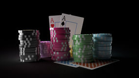 Gambling casino chips with playing cards on the dark background. 3D render of gambling casino chips with playing cards on the dark background. There are four Stock Photos