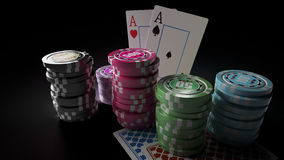 Gambling casino chips with playing cards on the dark background. 3D render of gambling casino chips with playing cards on the dark background. There are four Royalty Free Stock Photo