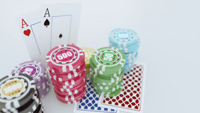 Gambling casino chips with playing cards on the white background. 3D render of gambling casino chips with playing cards on the dark background. There are four Stock Images